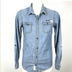 ❤️Silver Denim Roll Up Long Sleeve Shirt Pockets